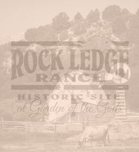 Vintage photo of The Rock Ledge Ranch with Logo