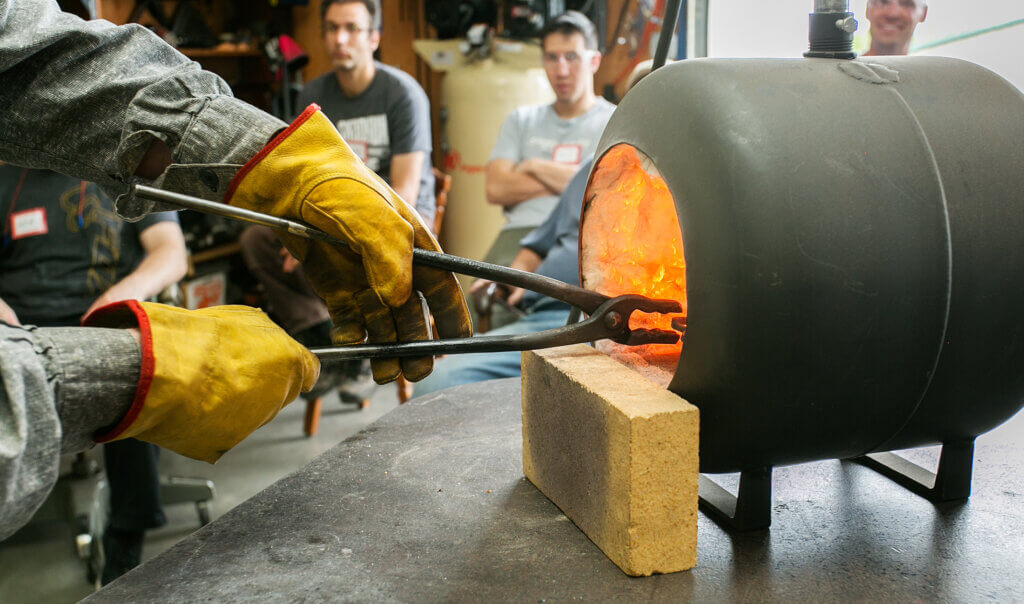 tongs in gas forge